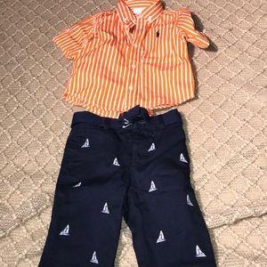 Infant boys pants and Button up shirt set